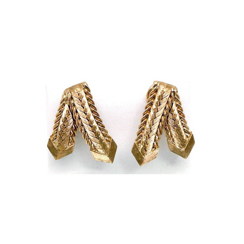 Estate & Vintage Vintage yellow gold earrings, with omega backs