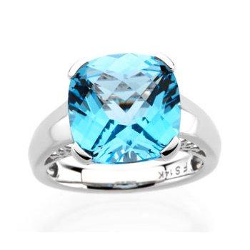 Genuine Checkerboard Swiss Blue Topaz Ring