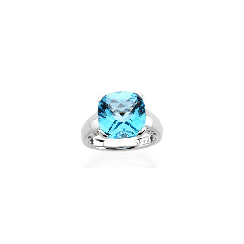 Ladies' Jewelry Genuine Checkerboard Swiss Blue Topaz Ring
