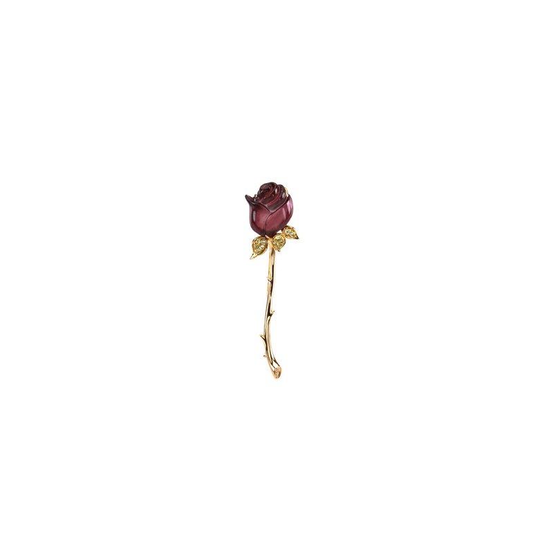 Ladies' Jewelry Genuine Multi Gem-stone & Diamond Rose Brooch