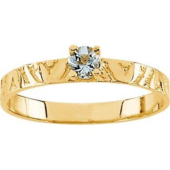 Children's Genuine Aquamarine March Birthstone Ring
