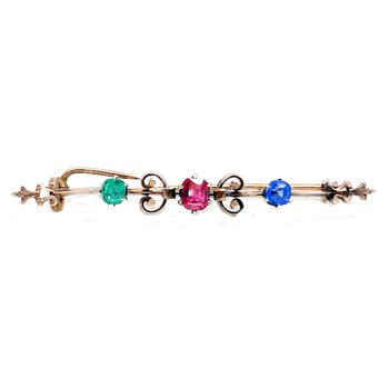 Lady's vintage art Nouveau style, multi stone and yellow gold bar pin