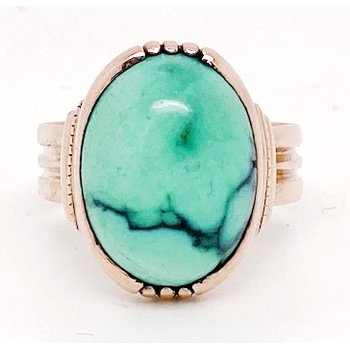 Lady's vintage blue stone and rose gold ring