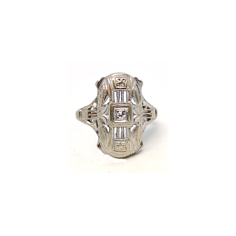Estate & Vintage Lady's vintage Art Deco design diamond and white gold ring