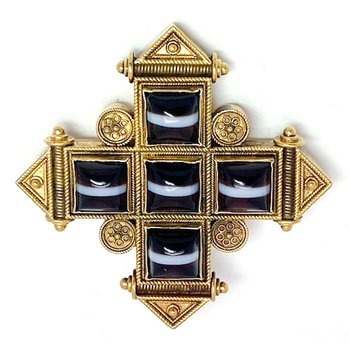 Vintage, Etruscan design agate cross brooch