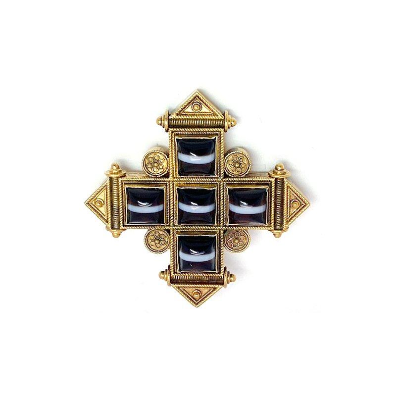 Estate & Vintage Vintage, Etruscan design agate cross brooch
