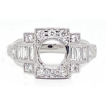 Diamond and White Gold, New, Vintage Style, Engagement Ring Mounting