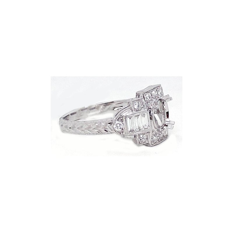 Vintage Bridal Diamond and White Gold, New, Vintage Style, Engagement Ring Mounting