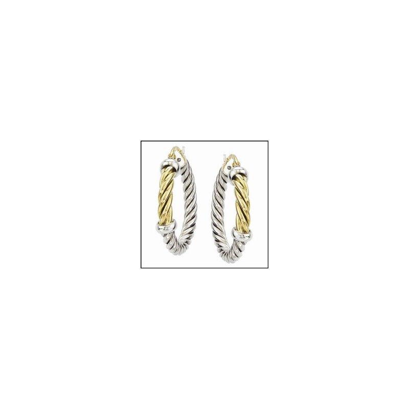 Designer Jewelry Two Tone Hoop Earrings
