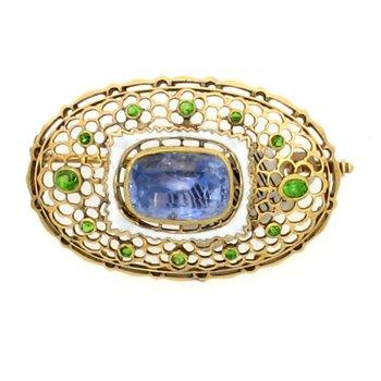 18K Green Garnet and Sapphire Brooch
