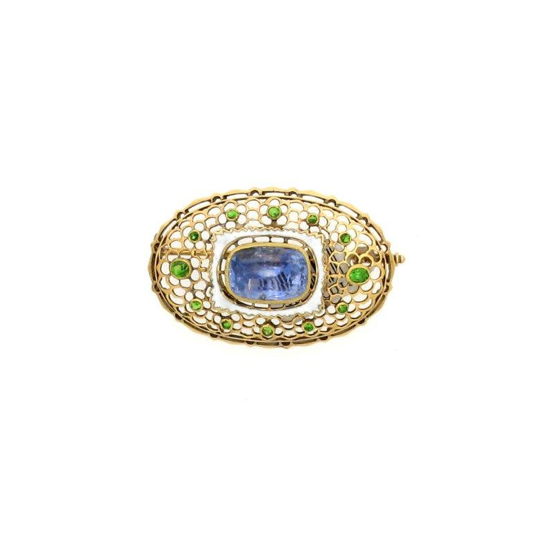 Estate & Vintage 18K Green Garnet and Sapphire Brooch