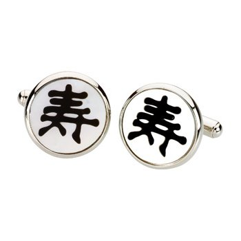 Men's Genuine Multi Gem-stone Longevity Symbol Cuff Links