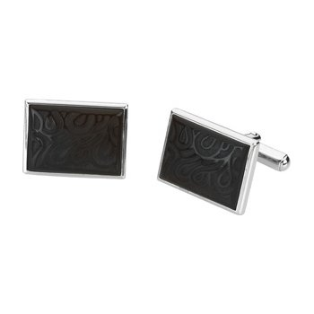Men's Genuine Carved Onyx Cuff Links