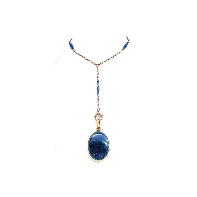 Estate & Vintage Vintage blue enamel and yellow gold locket necklace