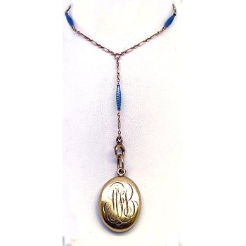 Vintage blue enamel and yellow gold locket necklace