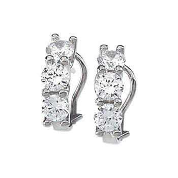 Three Stone Cubic Zirconia Earrings