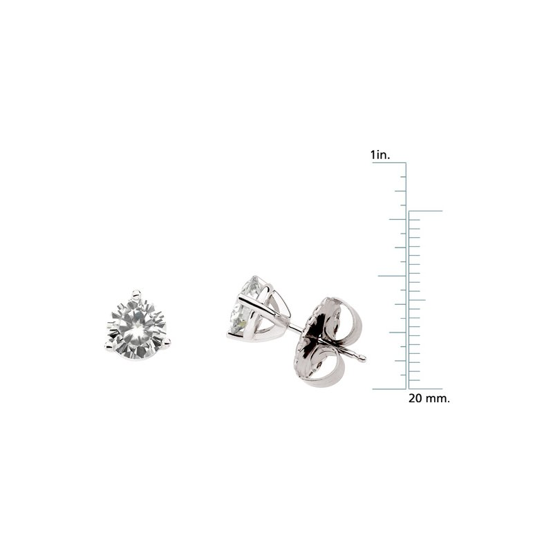 Ladies' Jewelry Moissanite Solitaire 3-Prong Stud Earrings