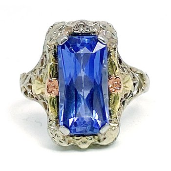 Lady's vintage Art Deco design synthetic sapphire, tri colored ring