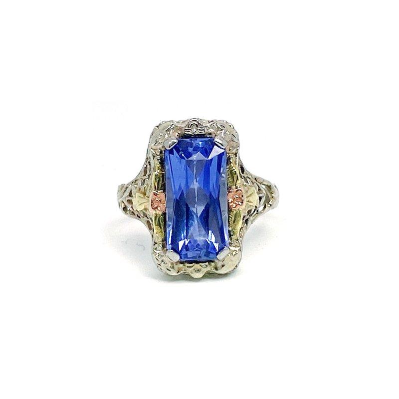 Estate & Vintage Lady's vintage Art Deco design synthetic sapphire, tri colored ring
