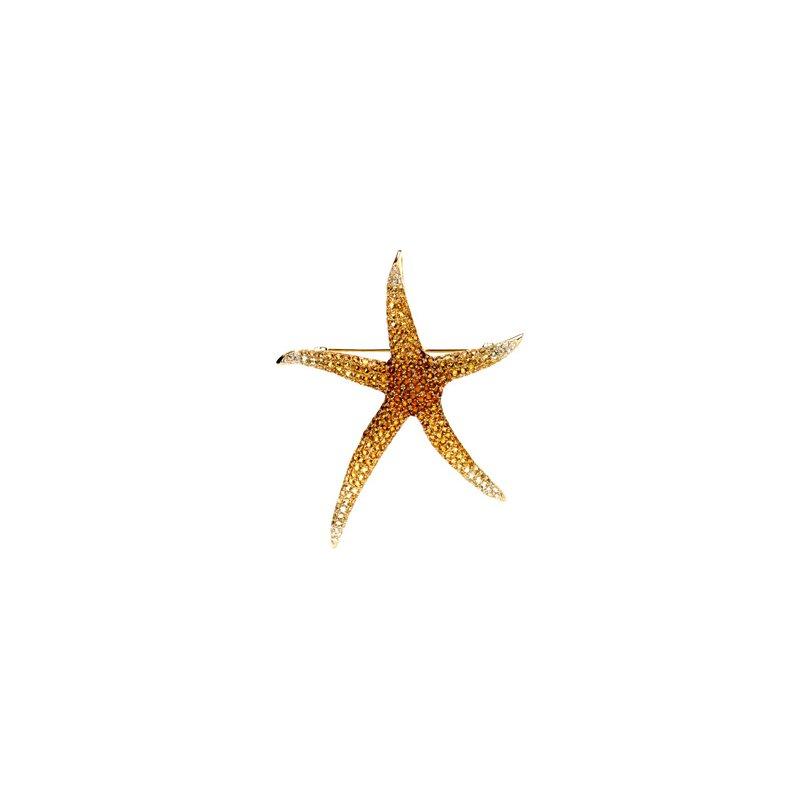 Ladies' Jewelry Genuine Multi Gem-stone & Diamond Starfish Brooch Pendant