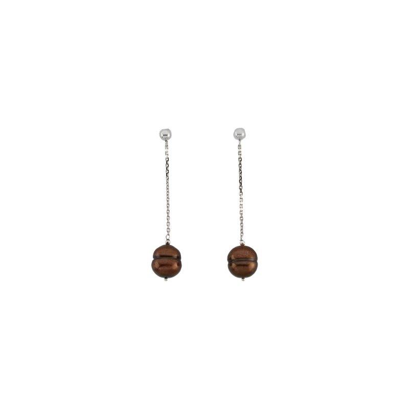 Ladies' Jewelry Freshwater Cultured Chocolate Pearl Earrings