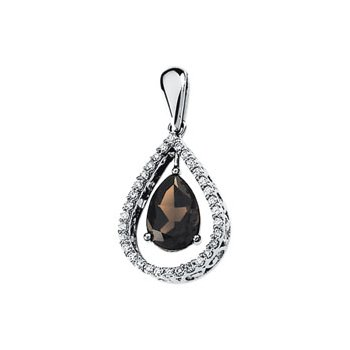 Genuine Smoky Quartz & Diamond Pendant