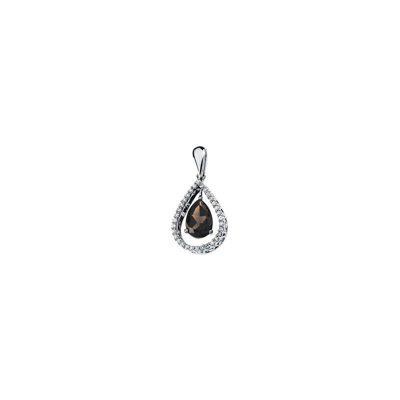 Holiday Ideas Genuine Smoky Quartz & Diamond Pendant