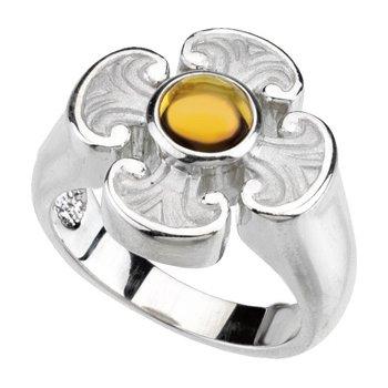 Genuine Citrine Maltese Cross Ring