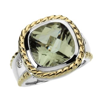 Genuine Checkerboard Green Quartz &  Diamond Ring