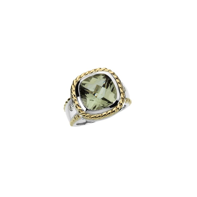 Ladies' Jewelry Genuine Checkerboard Green Quartz &  Diamond Ring