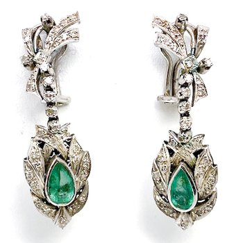 Lady's vintage Mexican style, white gold, emerald and diamond dangle earrings with omega backs