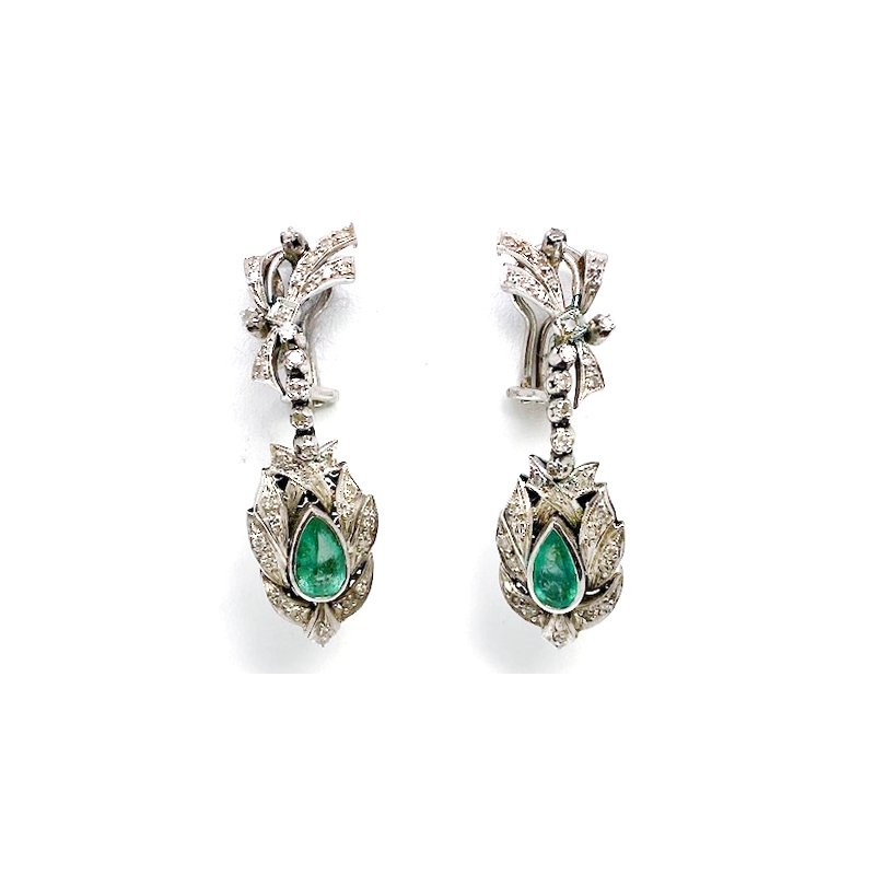 Estate & Vintage Lady's vintage Mexican style, white gold, emerald and diamond dangle earrings with omega backs