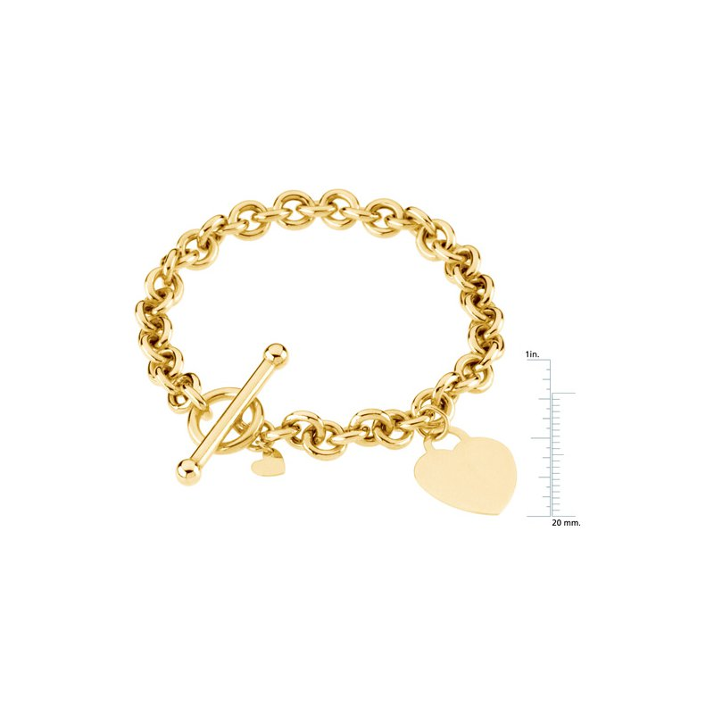 Ladies' Jewelry Round Link Toggle Bracelet with Heart Charm