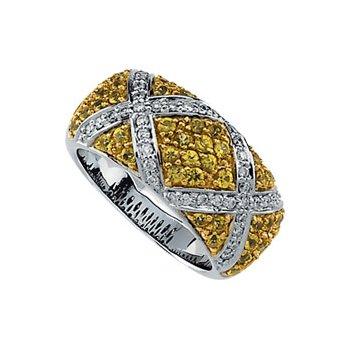Genuine Yellow Sapphire & Diamond Ring