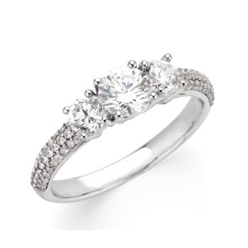 Semi-Mount Three Stone Engagement Ring