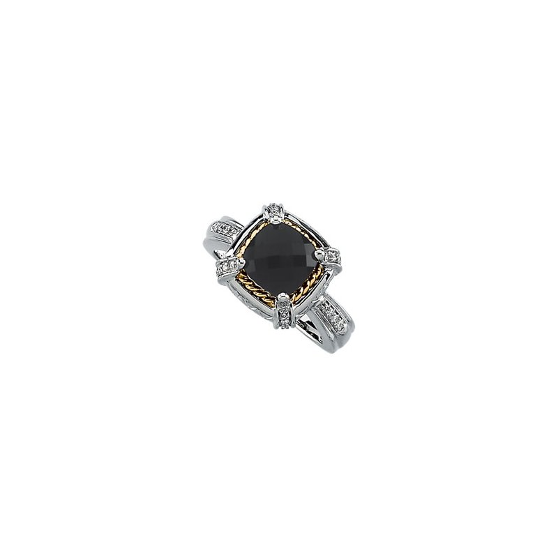 Ladies' Jewelry Genuine Checkerboard Onyx & Diamond Ring