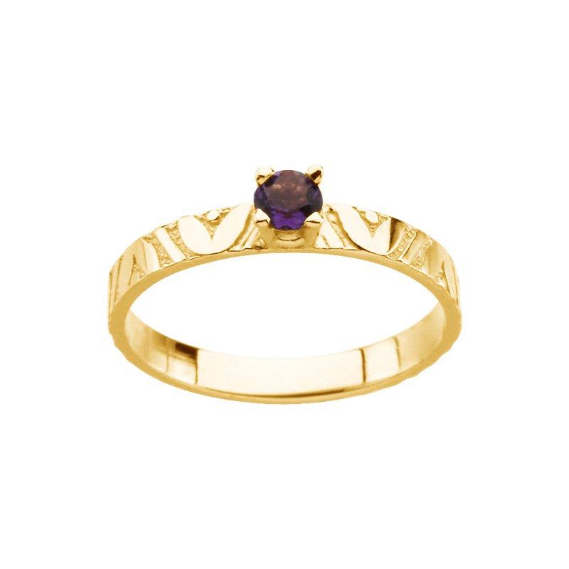 Birthstone Jewelry Children's Genuine Amethyst Birthstone Ring