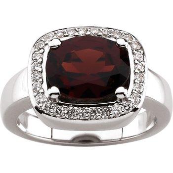Genuine Mozambique Garnet & Diamond Ring