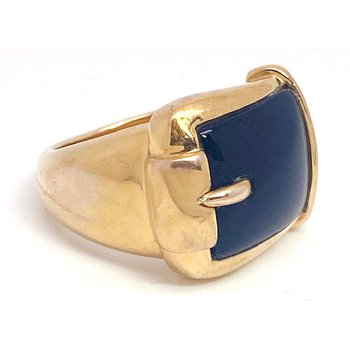 Lady's vintage yellow gold and onyx wide band ring