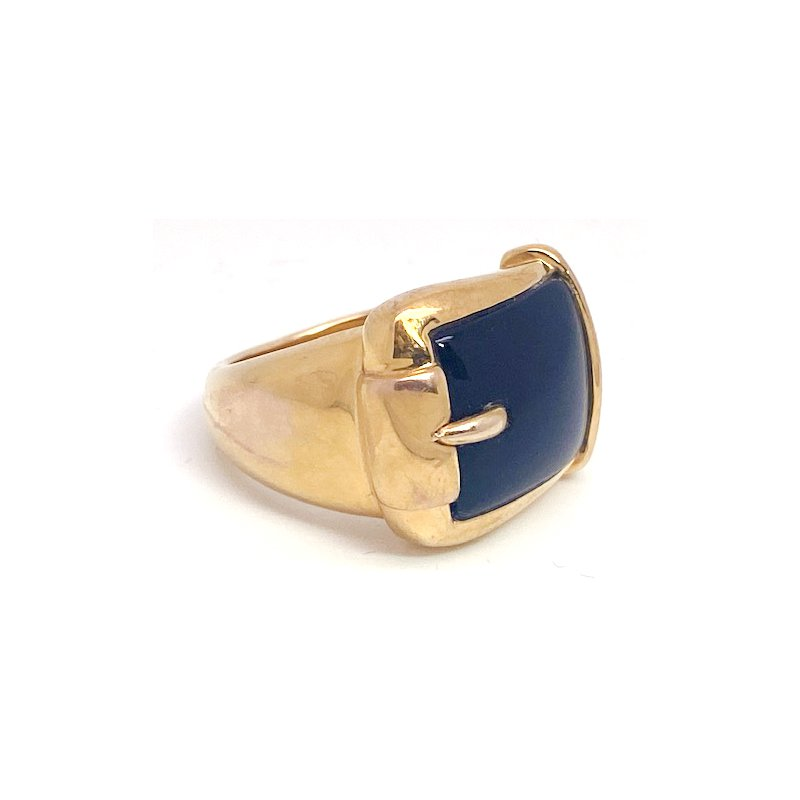 Estate & Vintage Lady's vintage yellow gold and onyx wide band ring