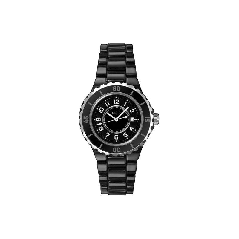 Eisen Watches Eisen Lady's Black Ceramic Designer Quartz Wrist Watch