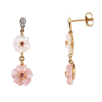 Genuine Pink Tourmaline, Mother Of Pearl & Diamond Earrings