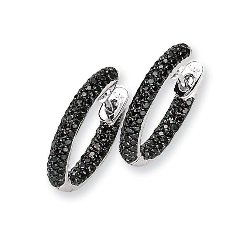 Susan Eisen 14k White Gold Black Diamond Hinged Hoop Earrings
