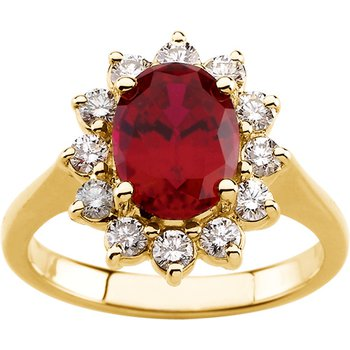 Chatham Created Ruby & Diamond Ring