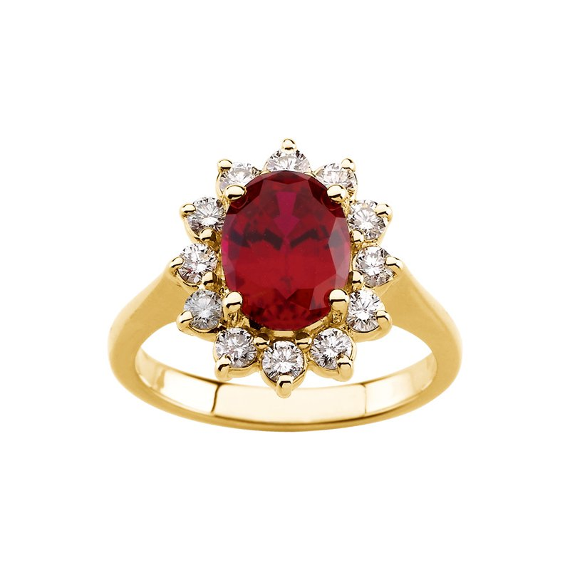 Ladies' Jewelry Chatham Created Ruby & Diamond Ring