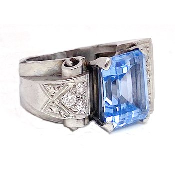 Lady's vintage Art Deco style, synthetic spinel, diamond and white gold ring