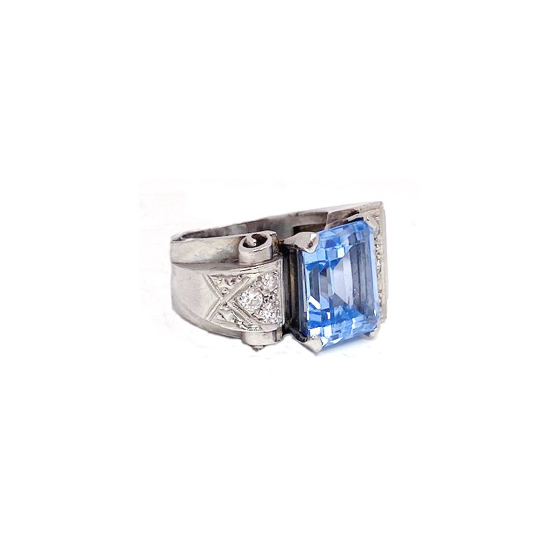 Estate & Vintage Lady's vintage Art Deco style, synthetic spinel, diamond and white gold ring