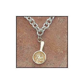 "The Heartbeat of El Paso Gift Collection: ""Mexican Food Capital of the World®"" Fajita Charm Necklace in Sterling & 14K Gold"
