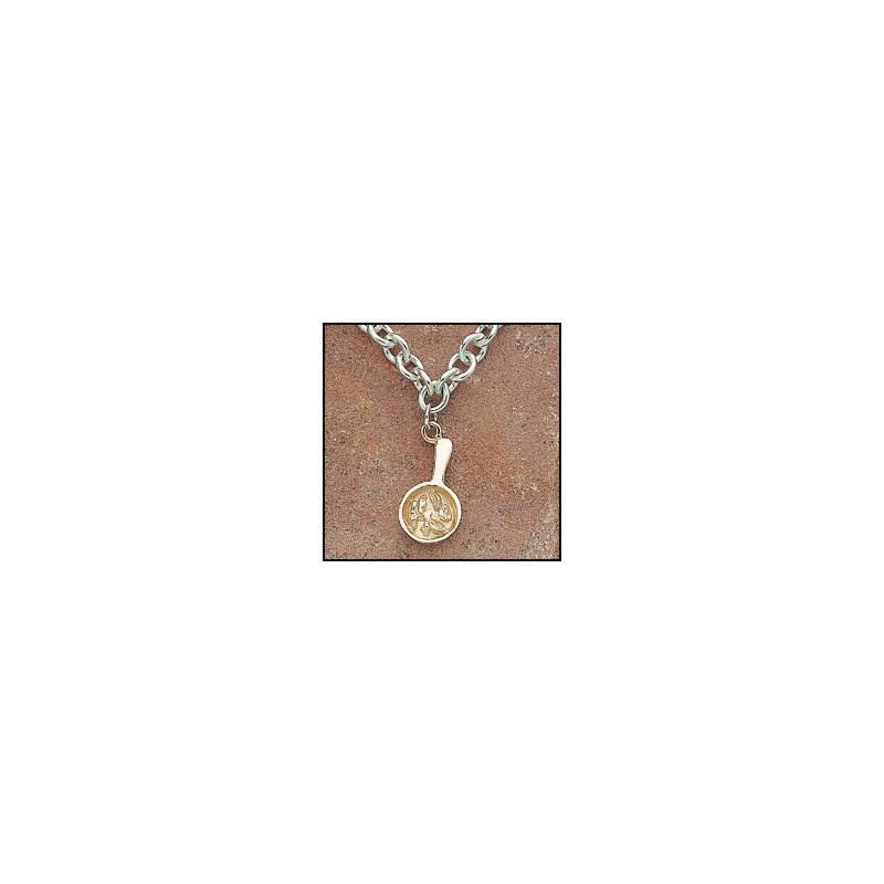 """El Paso Star and Gifts The Heartbeat of El Paso Gift Collection: """"Mexican Food Capital of the World®"""" Fajita Charm Necklace in Sterling & 14K Gold"""