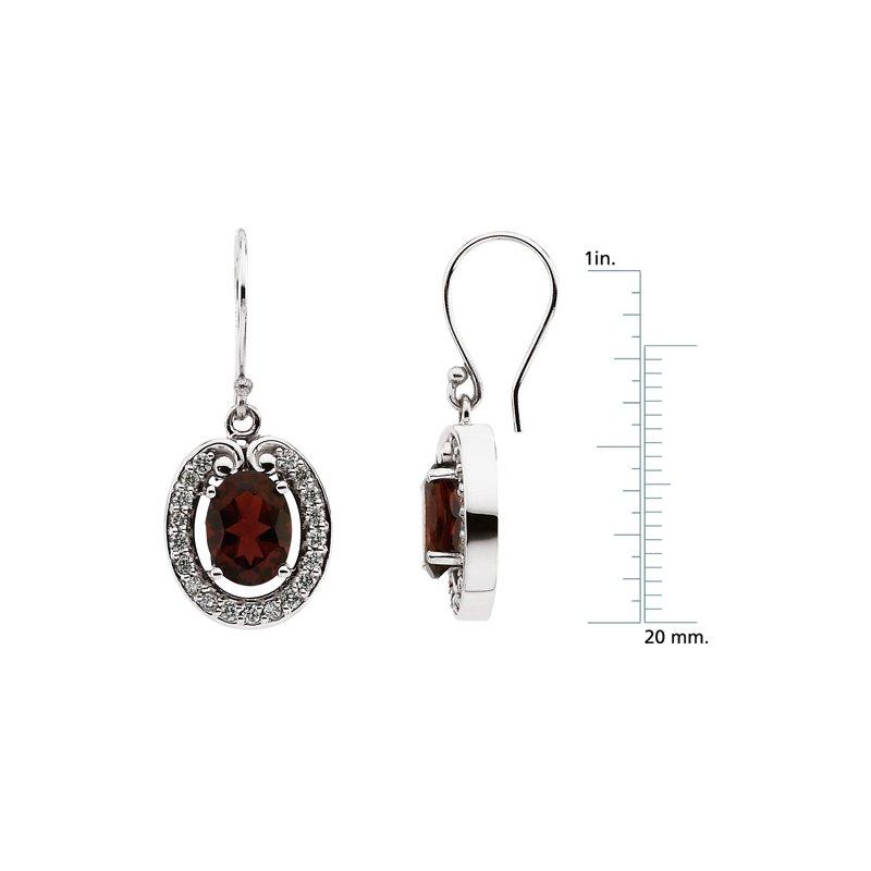 Ladies' Jewelry Genuine Mozambique Garnet & Diamond Earrings